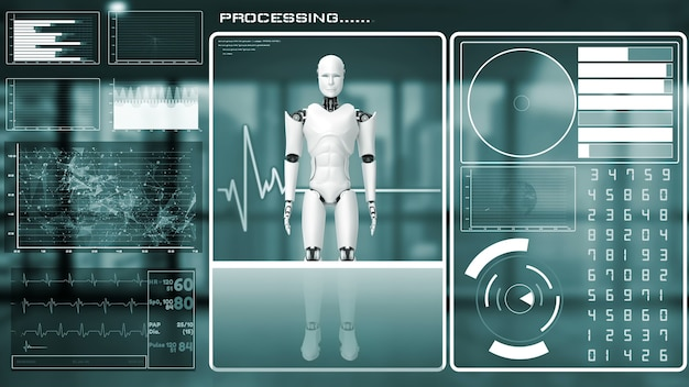 Robot futuriste, intelligence artificielle, analyse et programmation de mégadonnées cgi