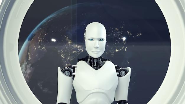Robot futuriste, intelligence artificielle cgi à l'intérieur d'un vaisseau spatial dans l'espace