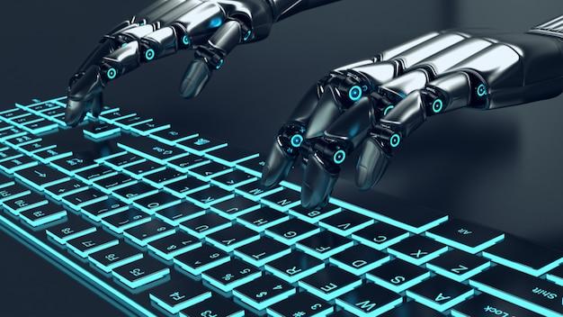 Robot gris métal futuriste tapant sur un clavier lumineux
