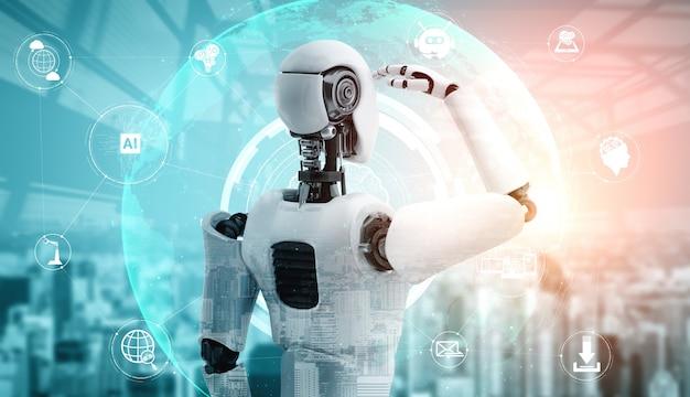 Robot humanoïde ai regardant l'écran d'hologramme montrant le concept de communication