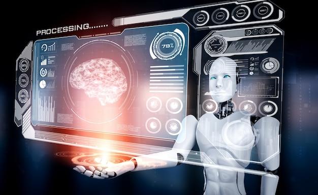 Robot humanoïde ai tenant un écran d'hologramme virtuel montrant le concept de cerveau ai