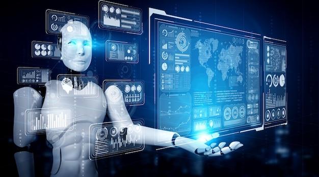 Robot humanoïde ai tenant un écran d'hologramme virtuel montrant le concept de données volumineuses