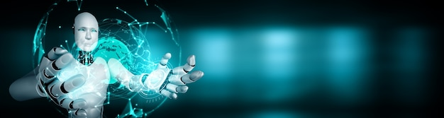 Robot humanoïde ai tenant un écran d'hologramme