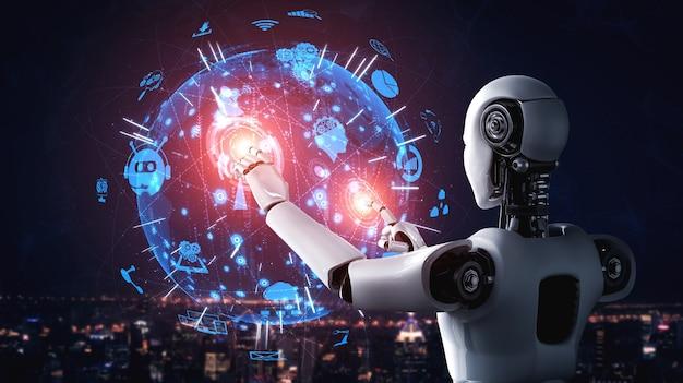 Un robot humanoïde ai touchant l'écran d'hologramme montre le concept de communication globale
