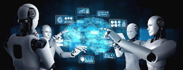 Robot humanoïde ai touchant l'écran d'hologramme virtuel montrant le concept de cerveau ai