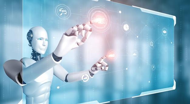 Robot humanoïde ai touchant l'écran d'hologramme virtuel montrant le concept de données volumineuses