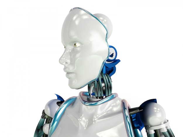 Robot humanoïde futuriste sur fond blanc, rendu 3d