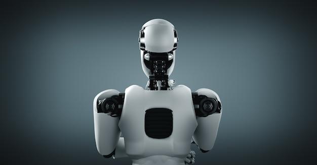 Robot humanoïde ia analysant les données d'information
