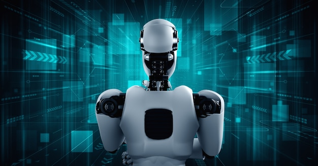 Robot humanoïde ia pensant analysant les données d'information