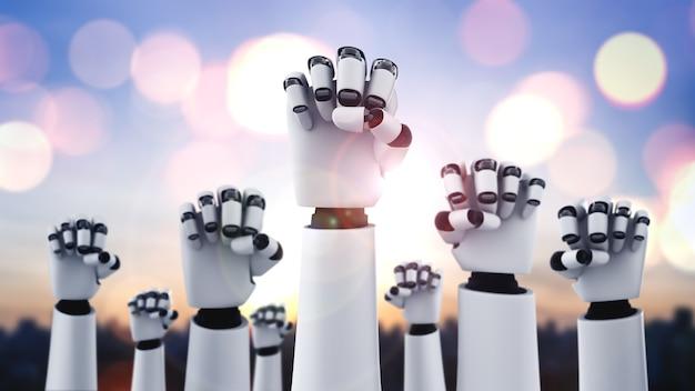 Un robot humanoïde lève la main pour célébrer le succès obtenu grâce à l'ia