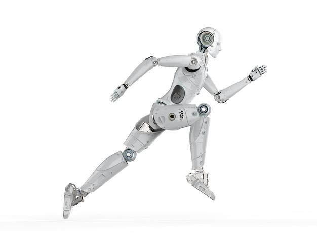 Robot humanoïde de rendu 3d courant ou sautant sur fond blanc