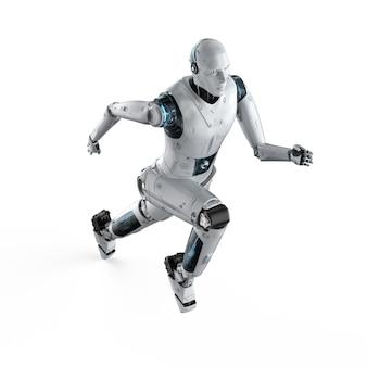 Robot humanoïde de rendu 3d courant ou sautant