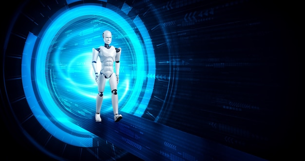 Robot humanoïde de rendu 3d dans le monde fantastique de science-fiction