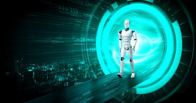 Robot humanoïde de rendu 3d dans un monde fantastique de science-fiction