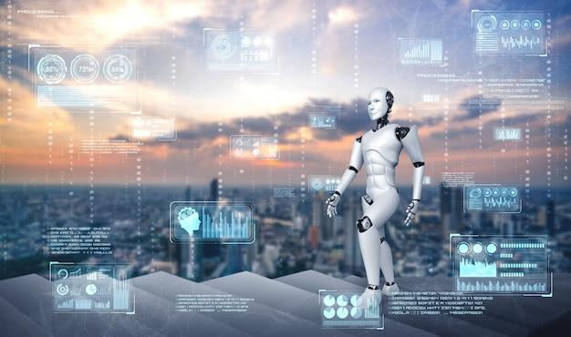 Le robot humanoïde de rendu 3d monte les escaliers vers le succès