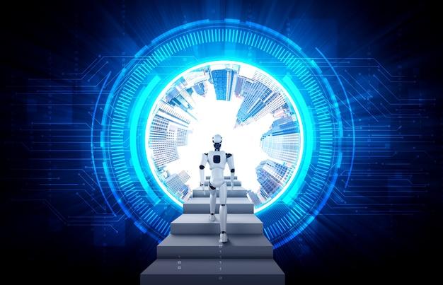 Robot humanoïde de rendu 3d monter l'escalier vers le succès