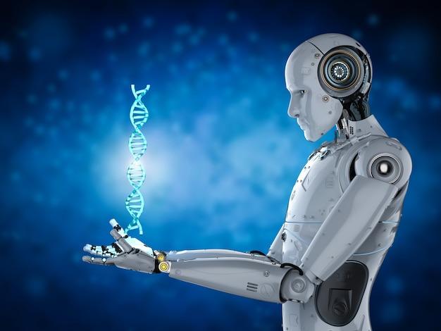 Robot humanoïde de rendu 3d tenant la structure de l'adn