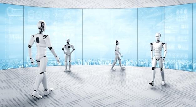 Robot humanoïde de rendu 3d travaillant à l'intérieur du futur bureau