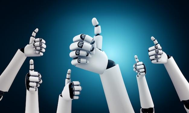 Un robot humanoïde se lève pour célébrer le succès des objectifs atteints