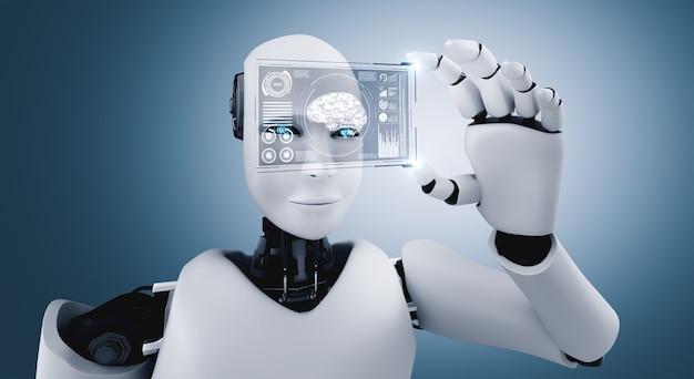 Robot humanoïde tenir écran hologramme hud dans le concept de cerveau de pensée ai