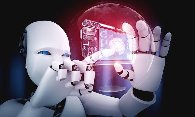 Un robot humanoïde tient l'écran hologramme hud dans le concept du cerveau pensant de l'ia