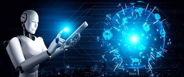 Robot humanoïde utilisant un ordinateur tablette pour la connexion au réseau mondial