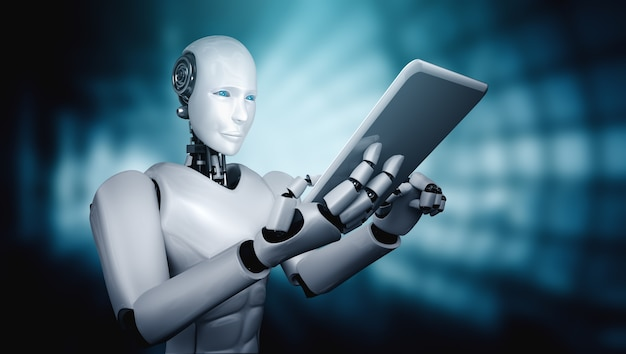 Robot humanoïde utilisant une tablette dans le futur bureau
