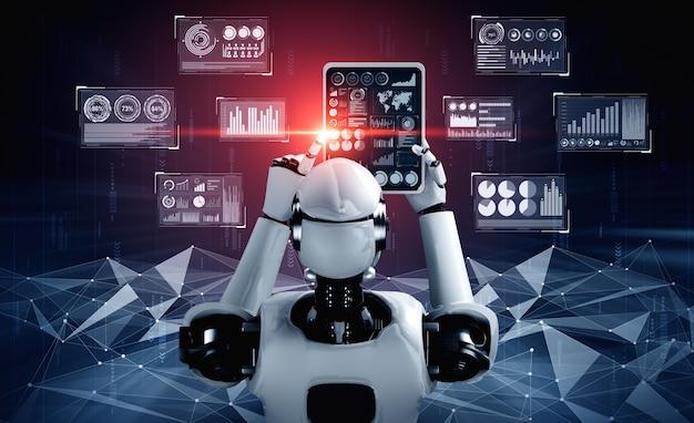 Robot humanoïde utilisant une tablette pour l'analyse de données volumineuses