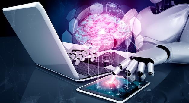 Robot humanoïde utilise un ordinateur portable et s'asseoir à table dans le concept de cerveau de pensée ai