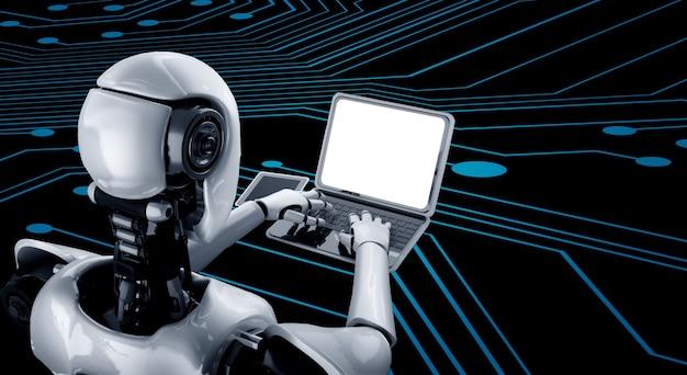 Robot humanoïde utilise un ordinateur portable et s'asseoir à table dans le futur bureau