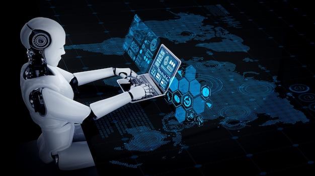 Robot humanoïde utilise un ordinateur portable et s'asseoir à table pour une connexion réseau mondiale