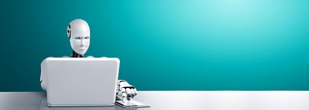 Robot humanoïde utilise un ordinateur portable et travaille au bureau