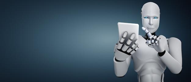 Robot humanoïde utilise un téléphone mobile ou une tablette dans un futur bureau
