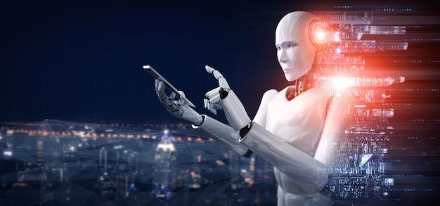 Robot humanoïde utilise un téléphone mobile ou une tablette pour la connexion au réseau mondial