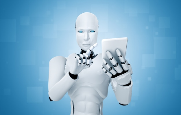 Robot humanoïde utilise un téléphone mobile
