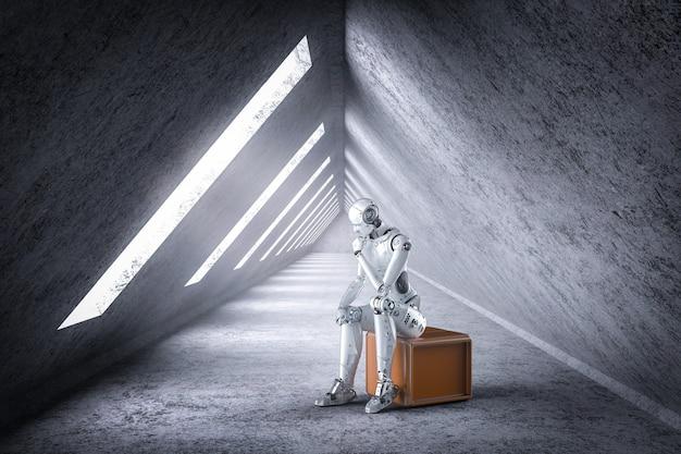 Le robot ia de rendu 3d pense ou calcule comme l'homme penseur