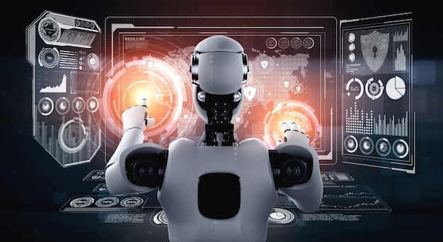 Robot ia utilisant la cybersécurité pour protéger la confidentialité des informations. concept futuriste de prévention de la cybercriminalité par l'intelligence artificielle et le processus d'apprentissage automatique. illustration de rendu 3d.