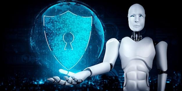 Robot ia utilisant la cybersécurité pour protéger la confidentialité des informations