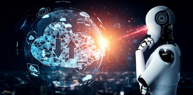 Robot ia utilisant la technologie de cloud computing pour stocker des données sur un serveur en ligne