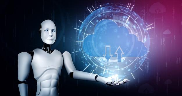 Robot d'ia utilisant la technologie de cloud computing pour stocker des données sur un serveur en ligne