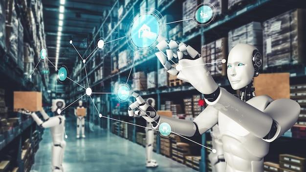 Robot industriel innovant travaillant dans un entrepôt pour le remplacement du travail humain