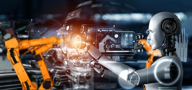 Robot industriel mécanisé et bras robotisés pour assemblage en production en usine.