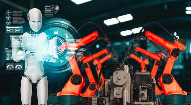Robot industriel mécanisé et bras robotisés pour l'assemblage en production en usine .