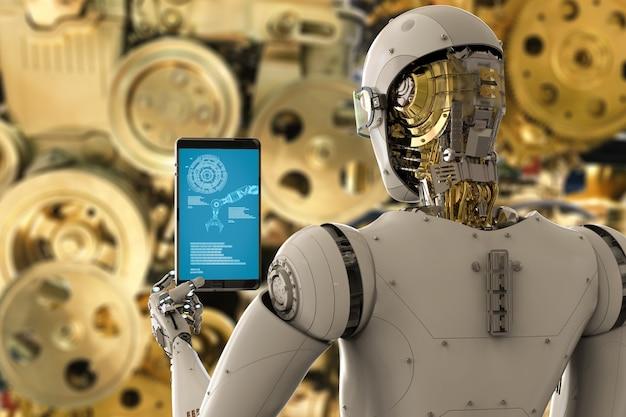 Robot ingénieur de rendu 3d travaillant avec tablette