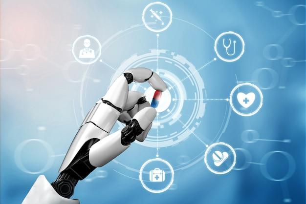 Robot d'intelligence artificielle médicale de rendu 3d