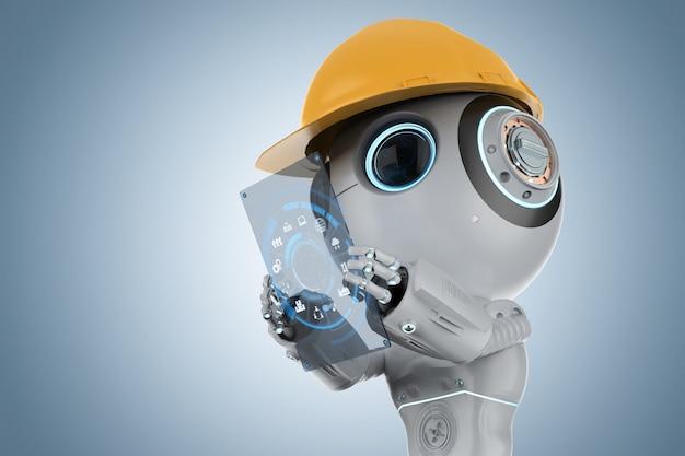 Robot d'intelligence artificielle mignon rendu 3d avec tablette numérique
