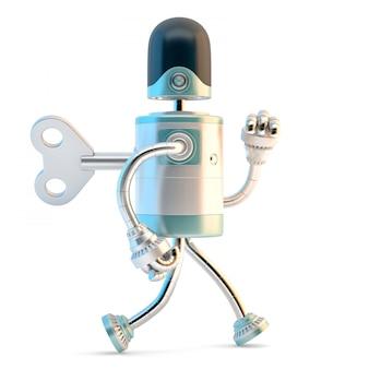 Robot marchant avec la clef de liquidation dans son dos.