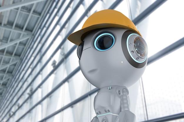 Robot mignon d'intelligence artificielle de rendu 3d avec le caractère d'ingénieur