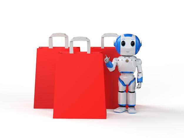 Robot mignon d'intelligence artificielle de rendu 3d avec le sac à provisions rouge sur le fond blanc