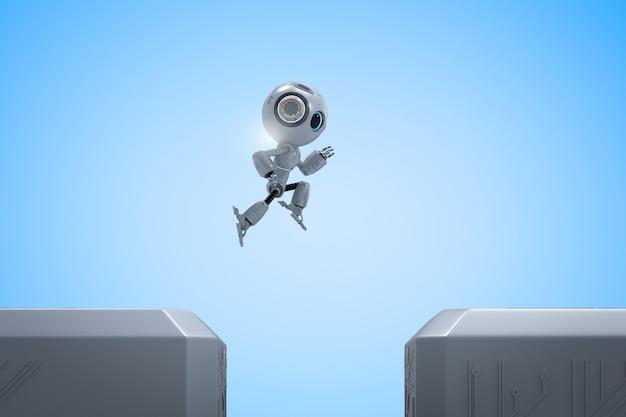Le robot mignon d'intelligence artificielle de rendu 3d saute à travers entre le bâtiment